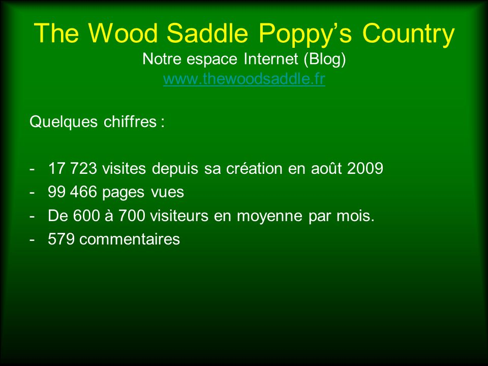 The Wood Saddle Poppy's Country Notre espace Internet (Blog) www