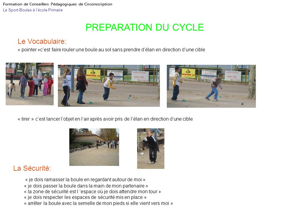 PREPARATION DU CYCLE Le Vocabulaire: La Sécurité: