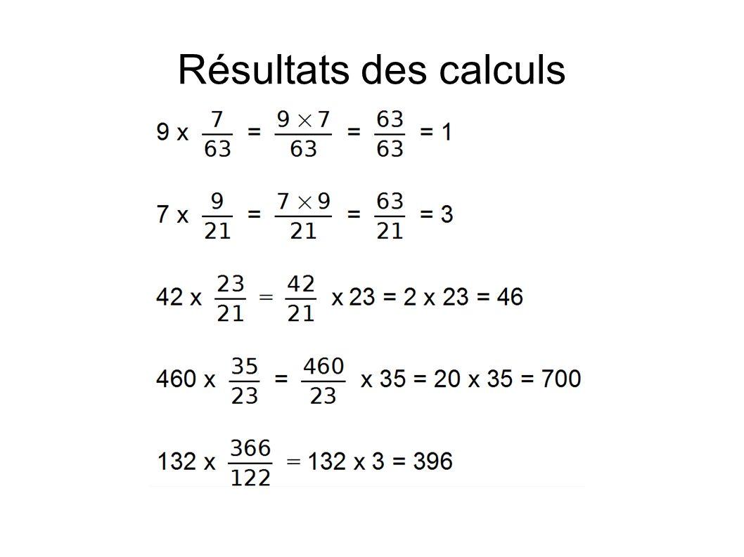 Résultats des calculs