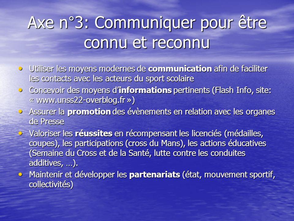Axe n°3: Communiquer pour être connu et reconnu