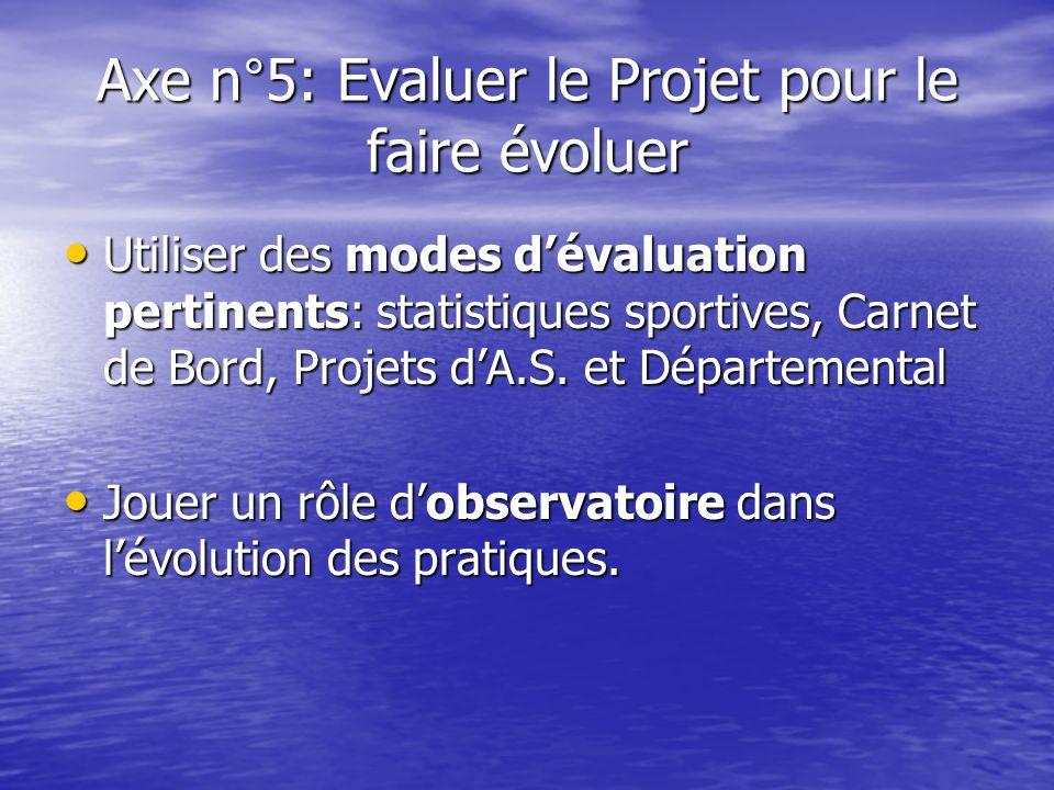 Axe n°5: Evaluer le Projet pour le faire évoluer