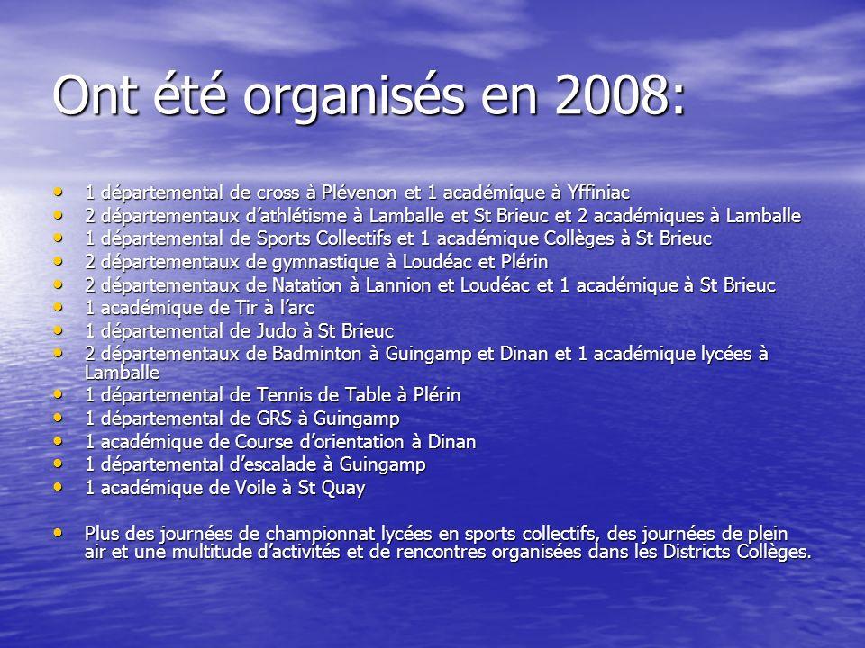 Ont été organisés en 2008: 1 départemental de cross à Plévenon et 1 académique à Yffiniac.