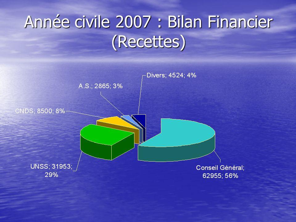 Année civile 2007 : Bilan Financier (Recettes)