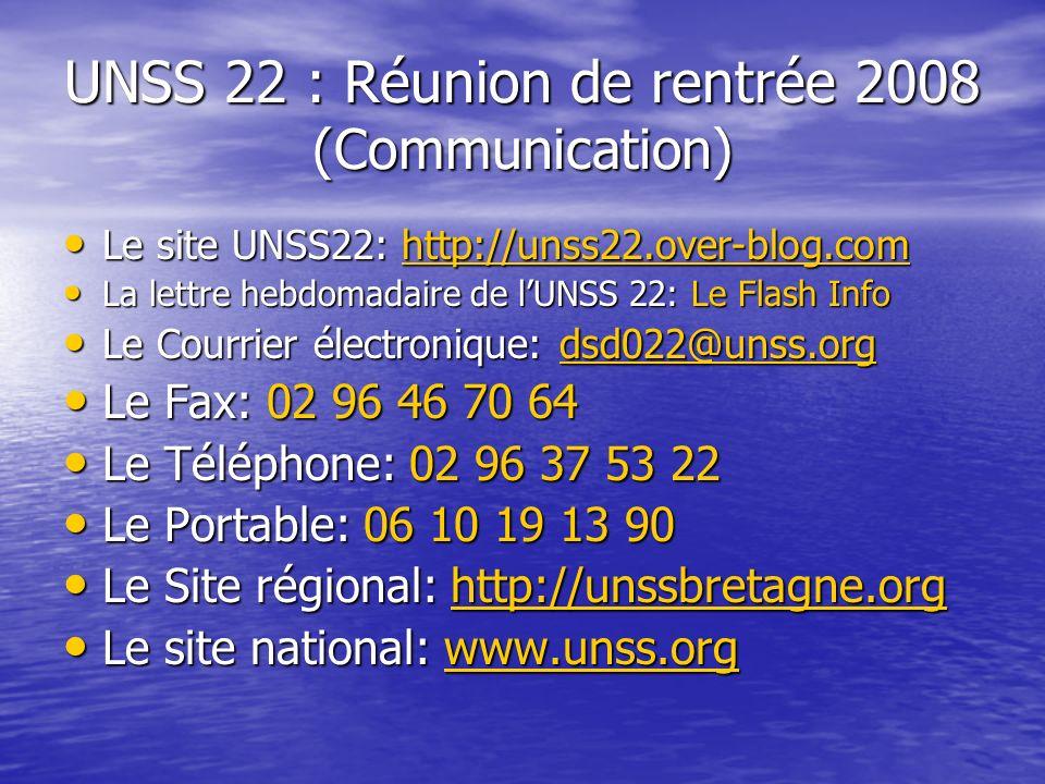 UNSS 22 : Réunion de rentrée 2008 (Communication)