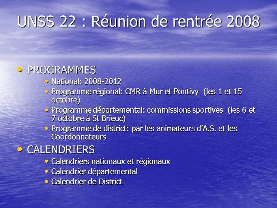 UNSS 22 : Réunion de rentrée 2008