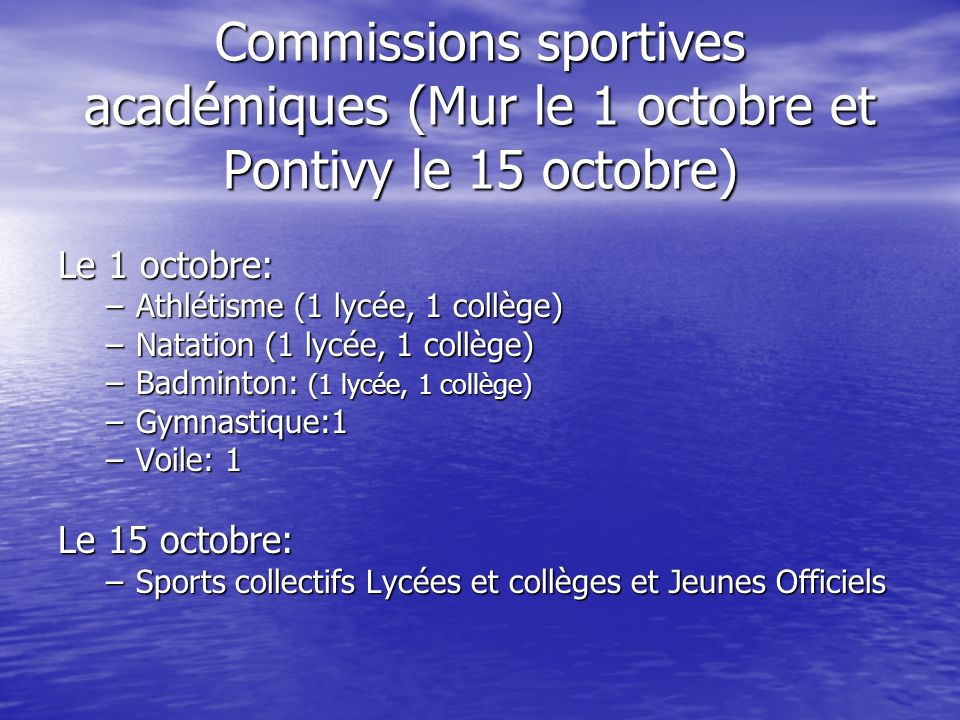 Commissions sportives académiques (Mur le 1 octobre et Pontivy le 15 octobre)