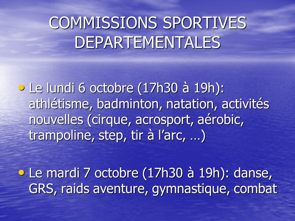COMMISSIONS SPORTIVES DEPARTEMENTALES
