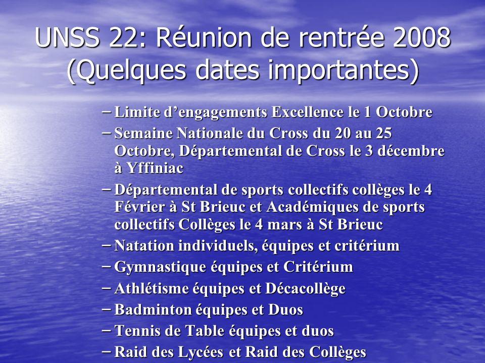 UNSS 22: Réunion de rentrée 2008 (Quelques dates importantes)