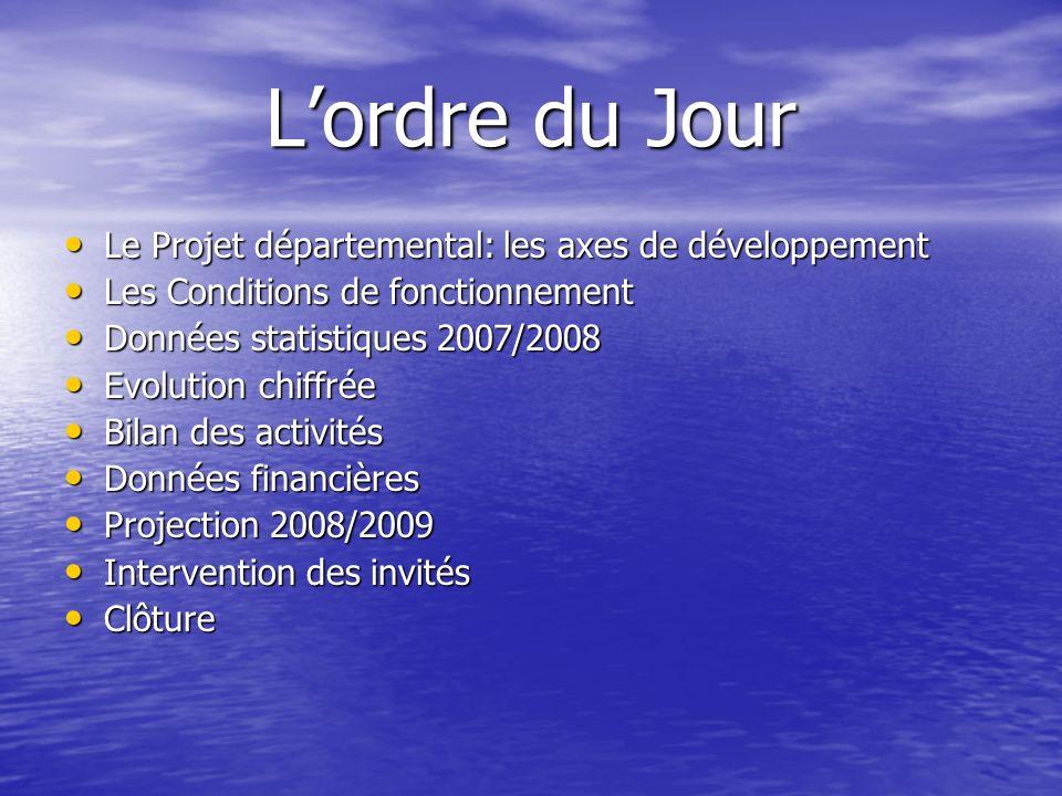 L'ordre du Jour Le Projet départemental: les axes de développement