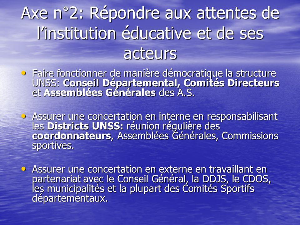 Axe n°2: Répondre aux attentes de l'institution éducative et de ses acteurs