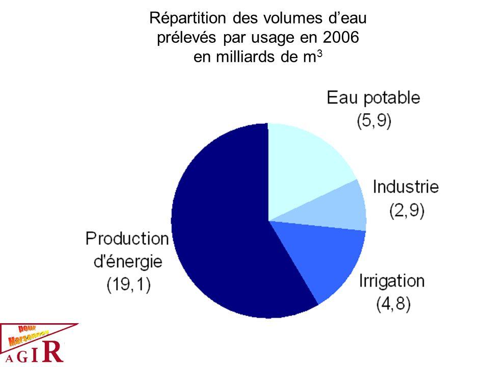 Répartition des volumes d'eau prélevés par usage en 2006 en milliards de m3