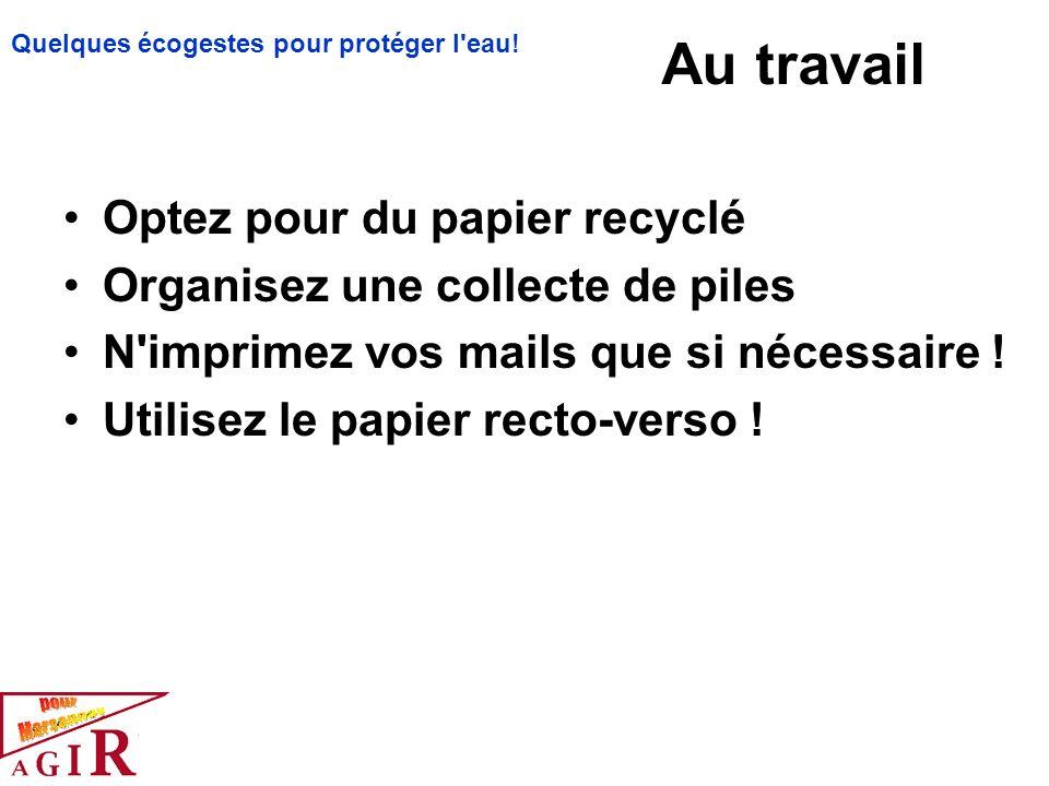 Au travail Optez pour du papier recyclé