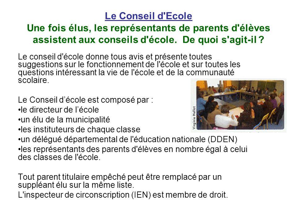 Le Conseil d Ecole Une fois élus, les représentants de parents d élèves assistent aux conseils d école. De quoi s agit-il