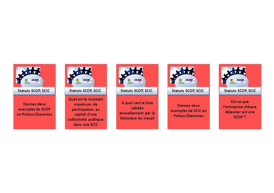 Donnez deux exemples de SCOP en Poitou-Charentes Statuts SCOP, SCIC