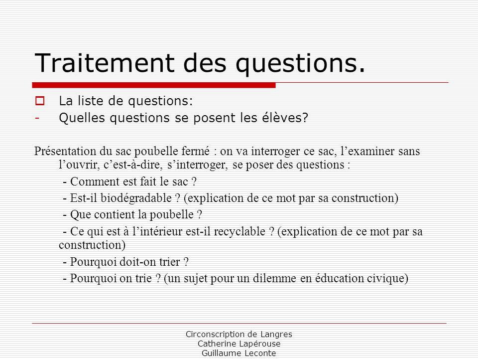 Traitement des questions.