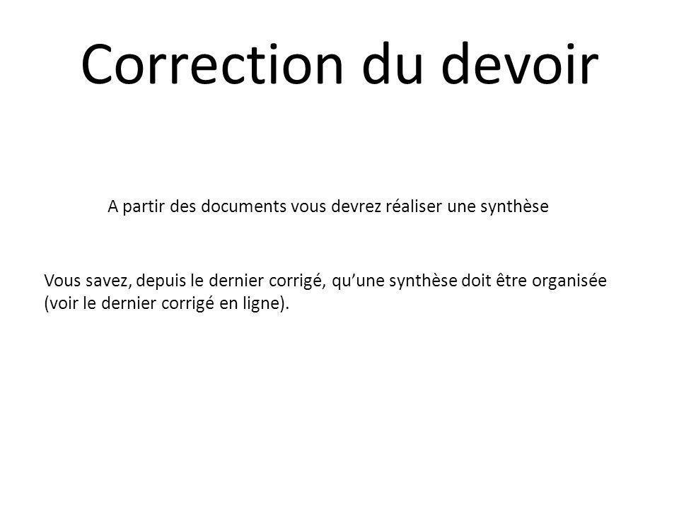 Correction du devoir A partir des documents vous devrez réaliser une synthèse.