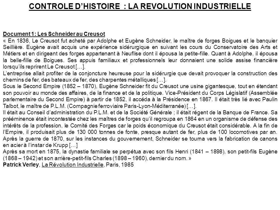 CONTROLE D'HISTOIRE : LA REVOLUTION INDUSTRIELLE