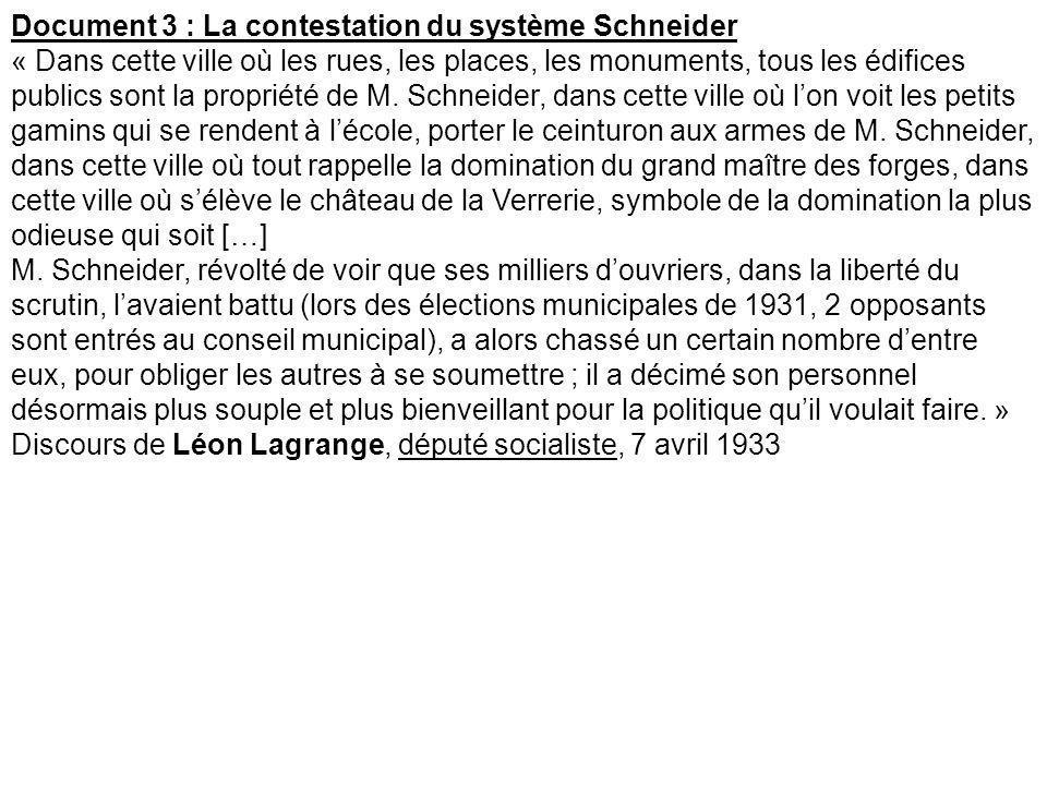 Document 3 : La contestation du système Schneider