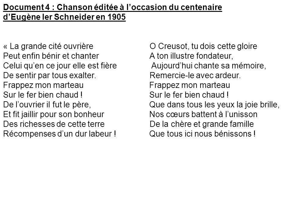 Document 4 : Chanson éditée à l'occasion du centenaire