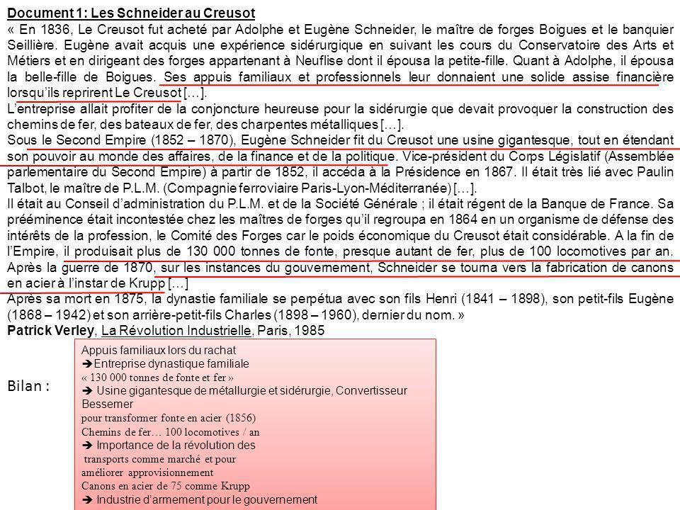 Bilan : Document 1: Les Schneider au Creusot