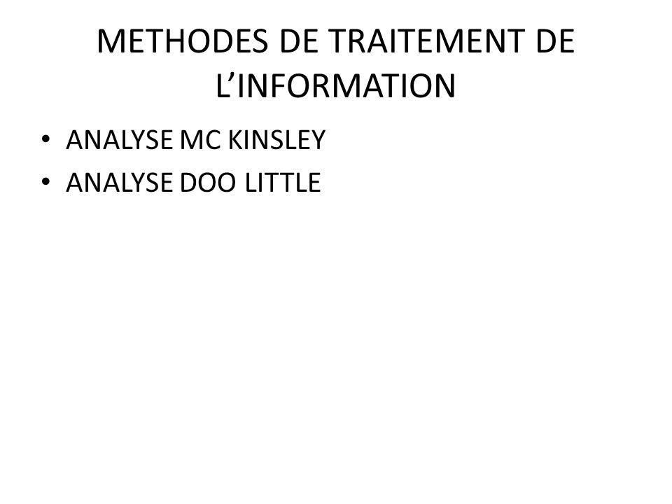 METHODES DE TRAITEMENT DE L'INFORMATION