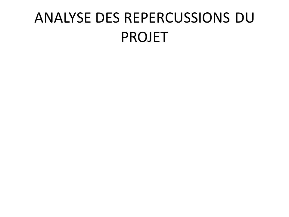 ANALYSE DES REPERCUSSIONS DU PROJET