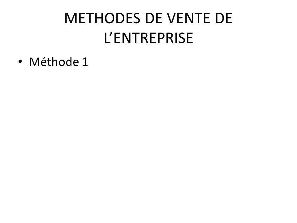 METHODES DE VENTE DE L'ENTREPRISE