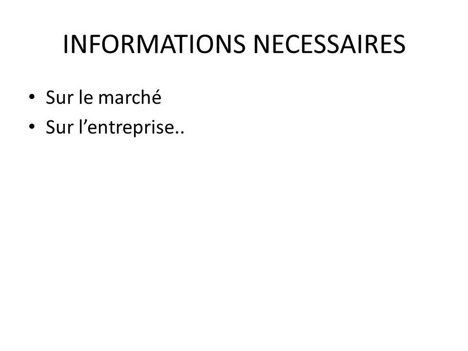 INFORMATIONS NECESSAIRES