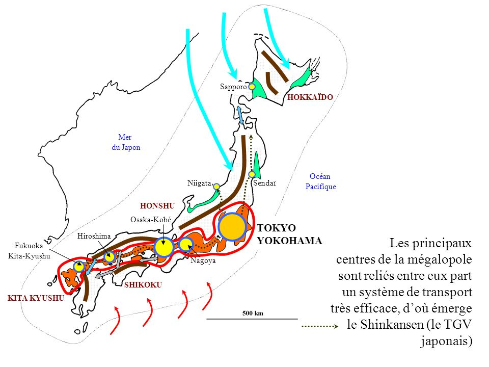 Sapporo HOKKAÏDO. Mer. du Japon. Océan. Pacifique. Niigata. Sendaï. HONSHU. Osaka-Kobé. TOKYO.