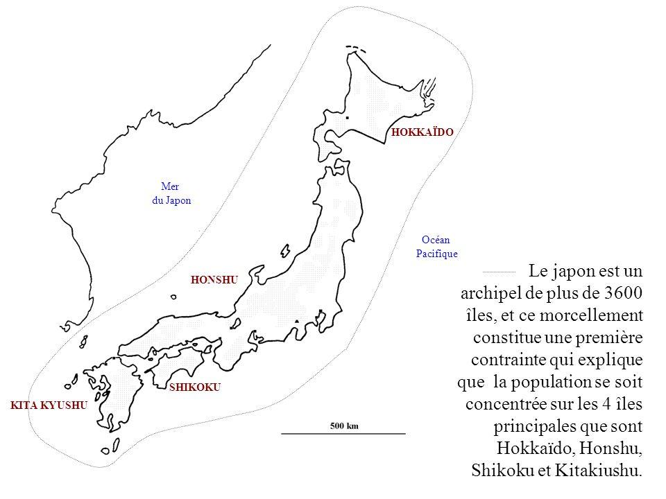KITA KYUSHU HONSHU. SHIKOKU. HOKKAÏDO. Mer. du Japon. Océan. Pacifique.