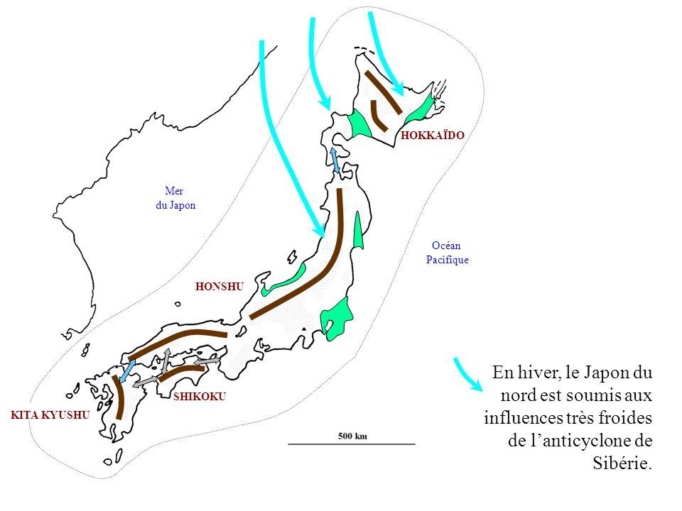 HOKKAÏDO Mer. du Japon. Océan. Pacifique. HONSHU. En hiver, le Japon du nord est soumis aux influences très froides de l'anticyclone de Sibérie.