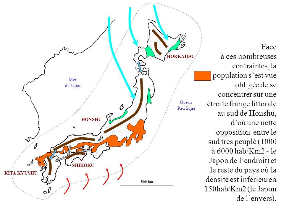 Face à ces nombreuses contraintes, la population s'est vue obligée de se concentrer sur une étroite frange littorale au sud de Honshu, d'où une nette opposition entre le sud très peuplé (1000 à 6000 hab/Km2 - le Japon de l'endroit) et le reste du pays où la densité est inférieure à 150hab/Km2 (le Japon de l'envers).