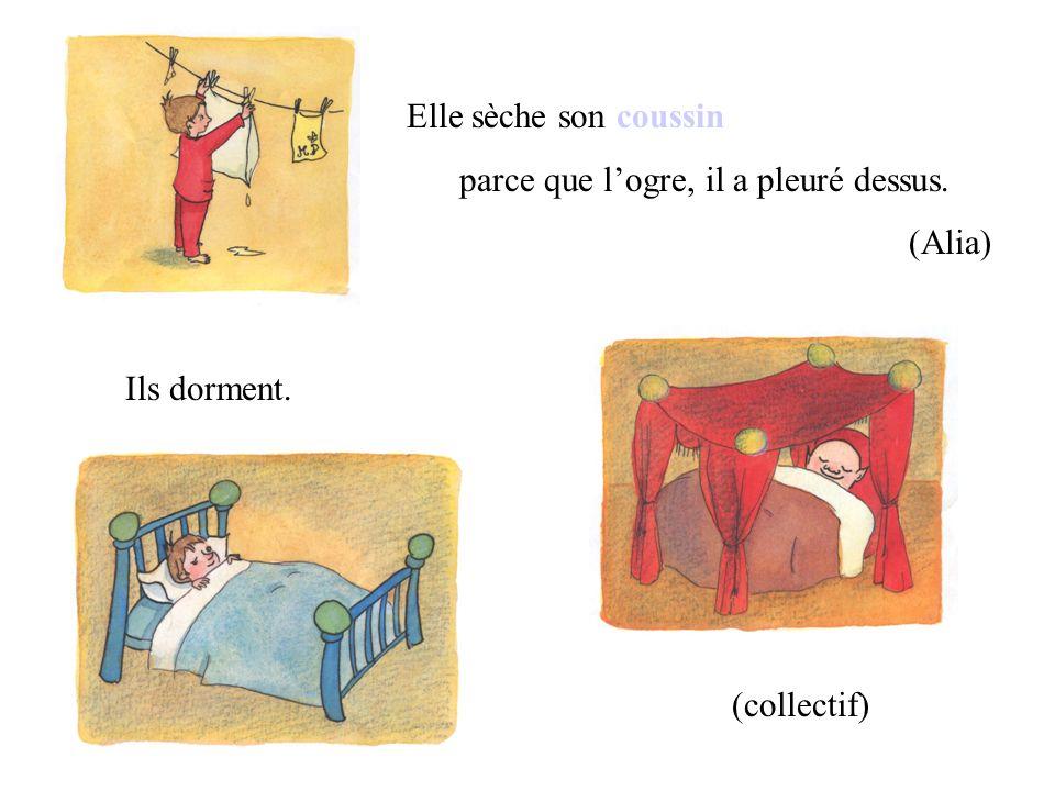Elle sèche son coussin parce que l'ogre, il a pleuré dessus. (Alia) Ils dorment. (collectif)