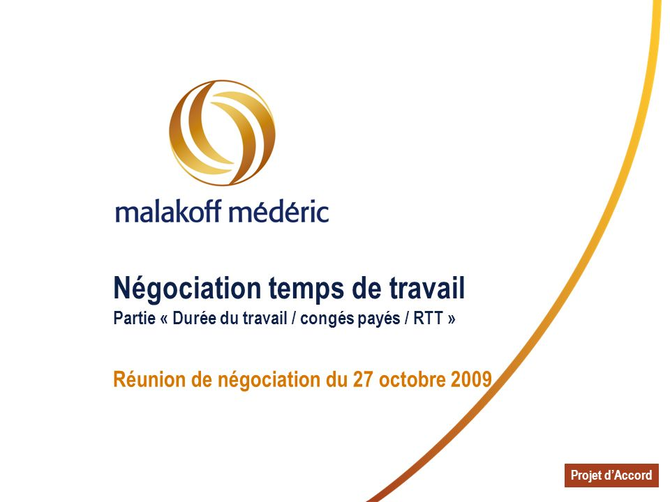 Réunion de négociation du 27 octobre 2009