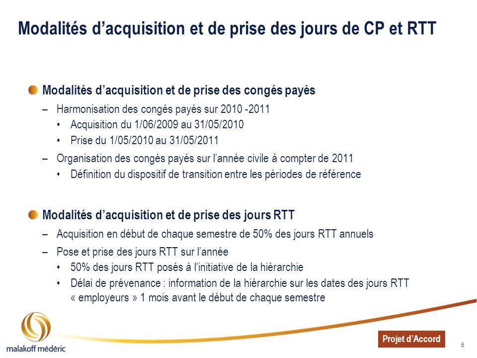 Modalités d'acquisition et de prise des jours de CP et RTT