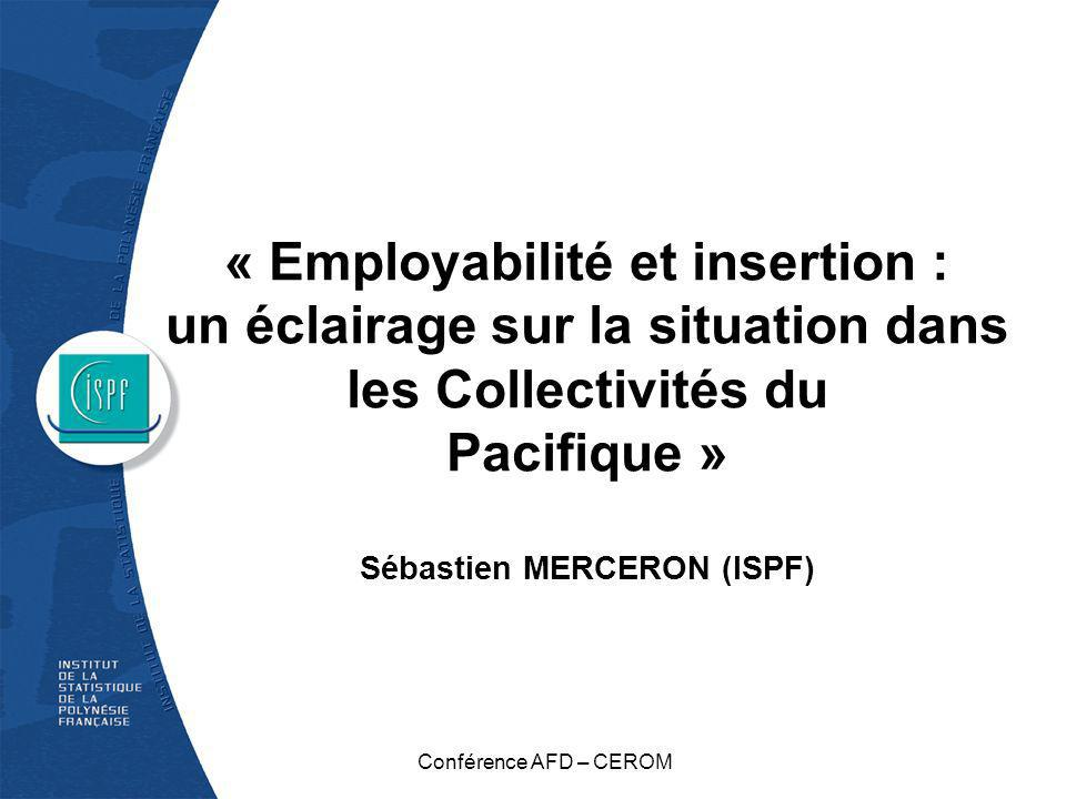 « Employabilité et insertion : un éclairage sur la situation dans les Collectivités du Pacifique » Sébastien MERCERON (ISPF)