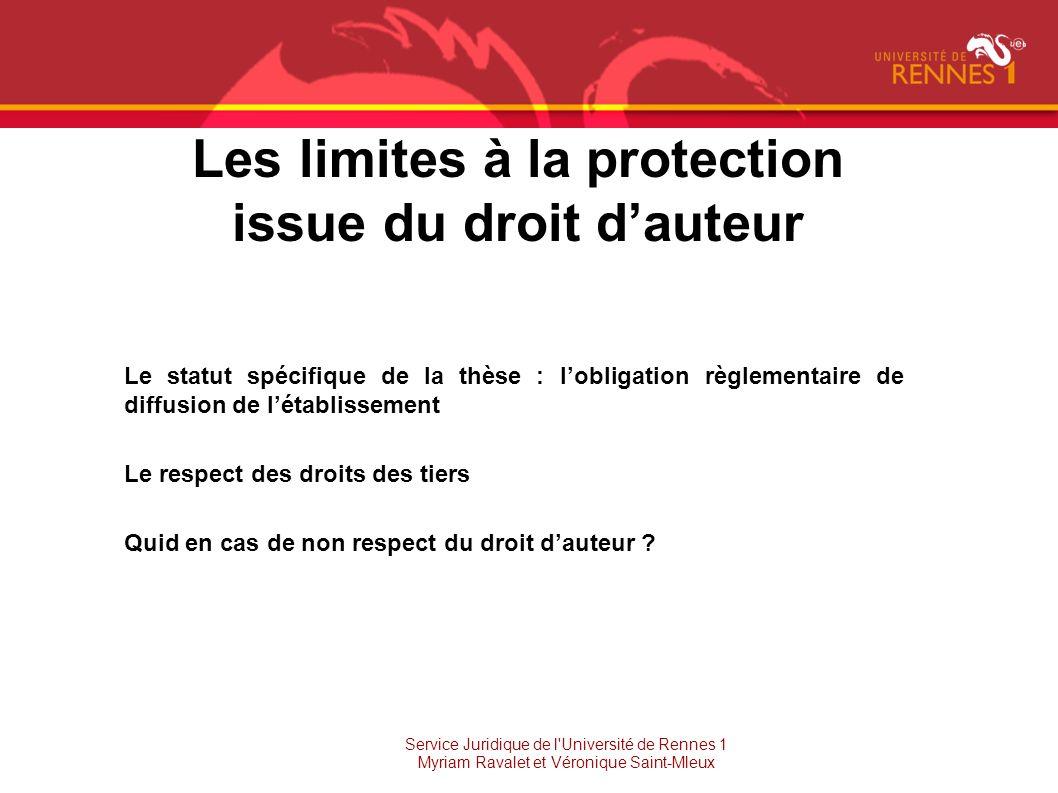 Les limites à la protection issue du droit d'auteur