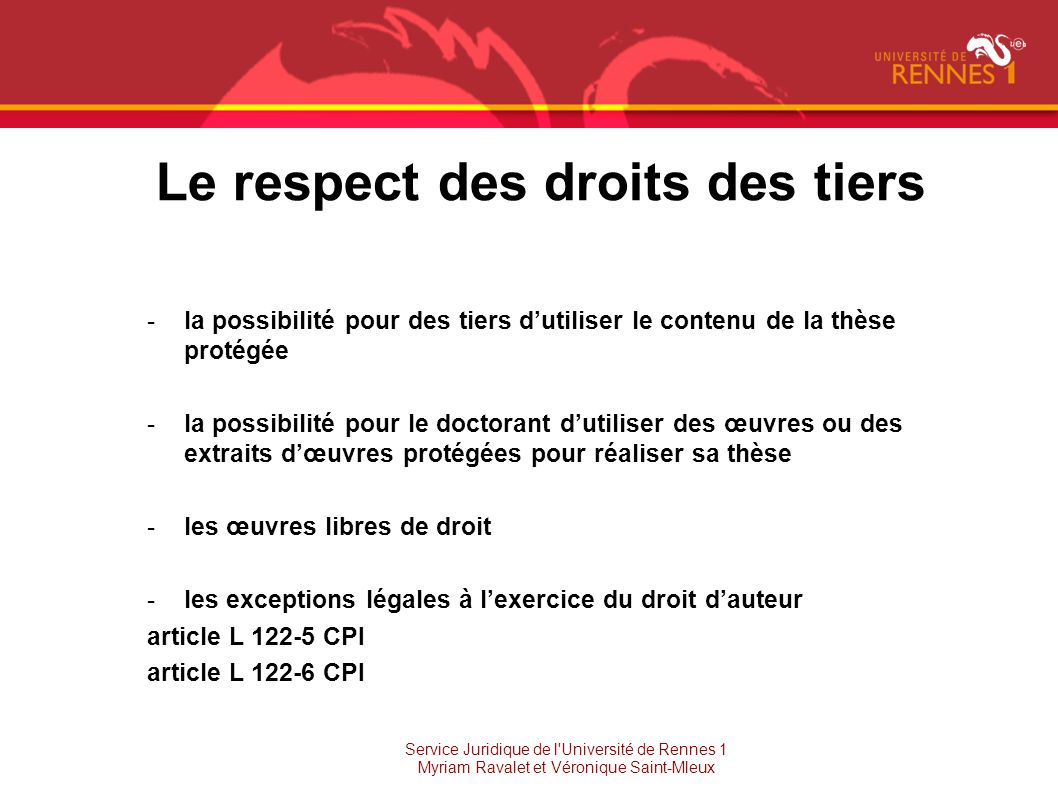 Le respect des droits des tiers