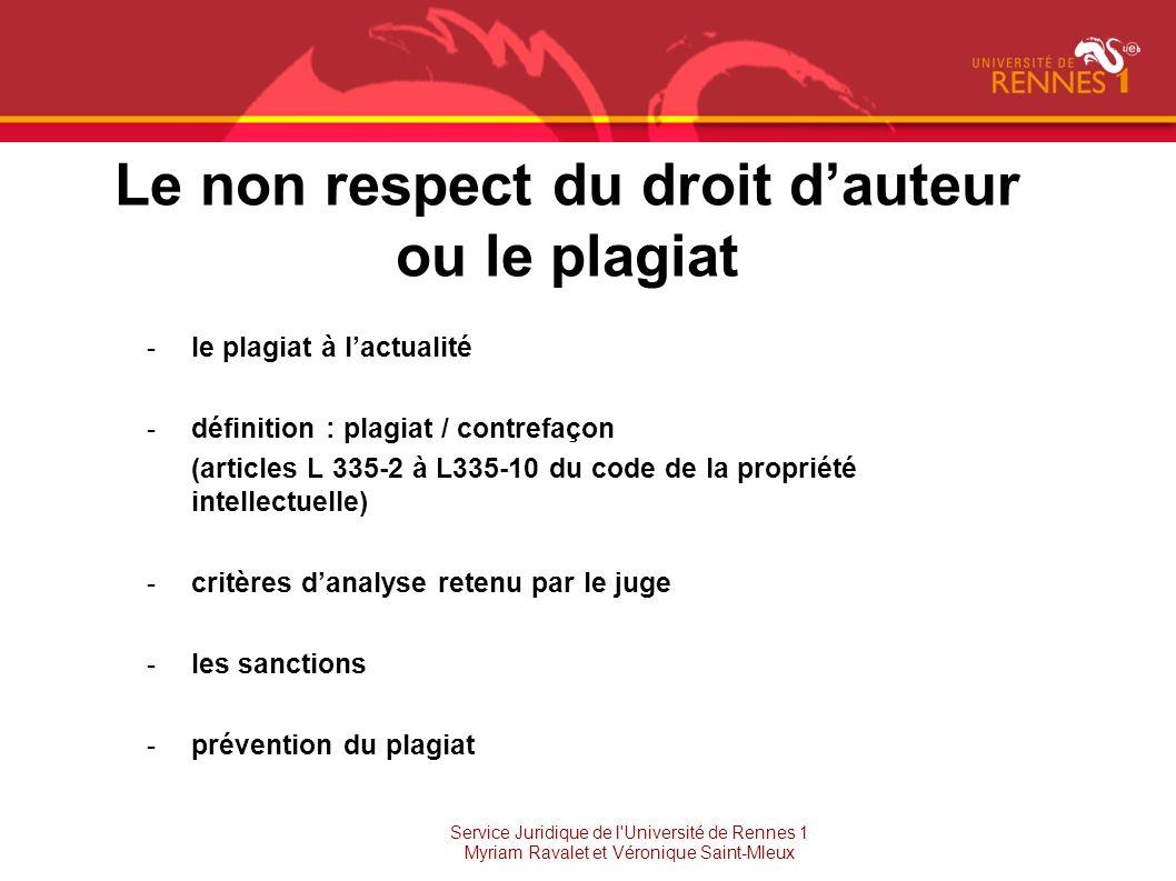 Le non respect du droit d'auteur ou le plagiat