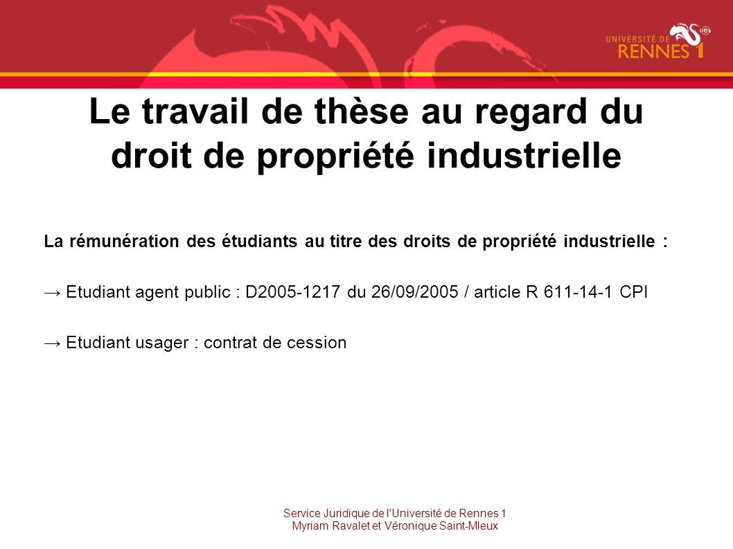 Le travail de thèse au regard du droit de propriété industrielle