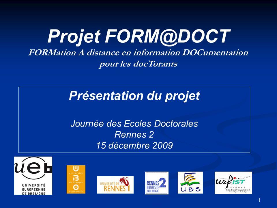 Projet FORM@DOCT Présentation du projet