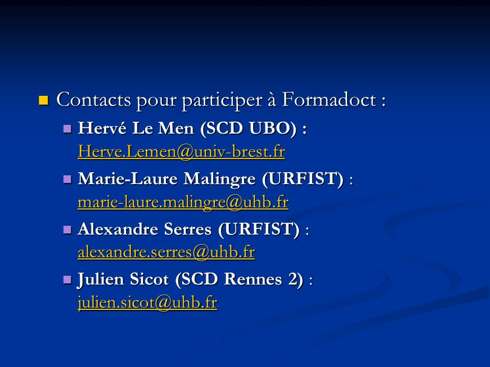 Contacts pour participer à Formadoct :