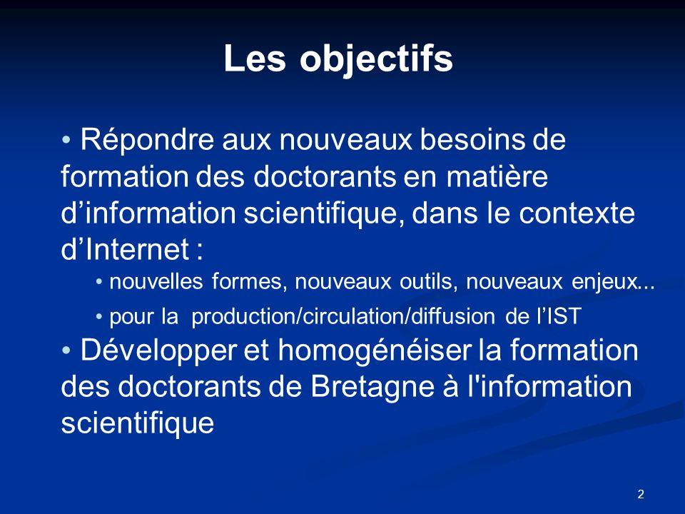 Les objectifs Répondre aux nouveaux besoins de formation des doctorants en matière d'information scientifique, dans le contexte d'Internet :
