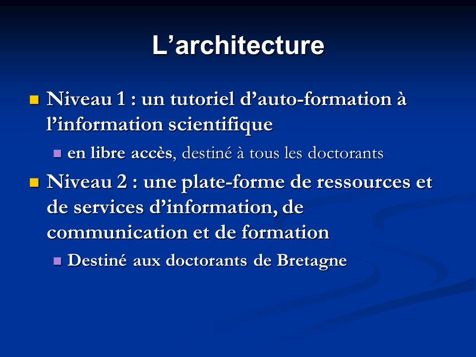 L'architecture Niveau 1 : un tutoriel d'auto-formation à l'information scientifique. en libre accès, destiné à tous les doctorants.