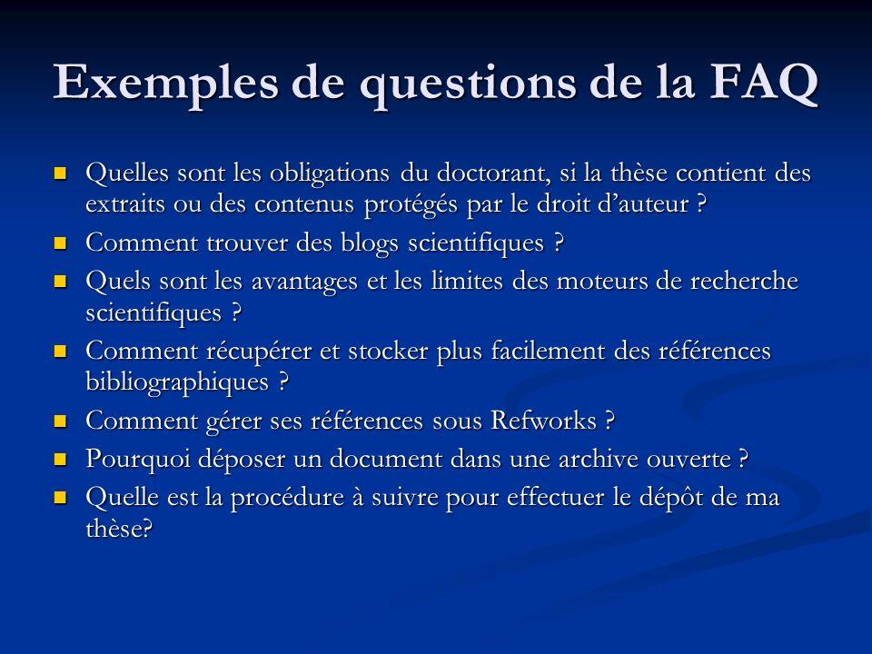 Exemples de questions de la FAQ