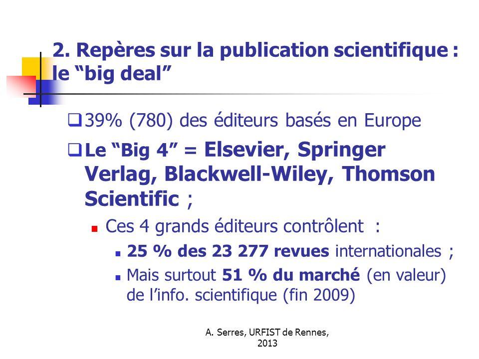 2. Repères sur la publication scientifique : le big deal