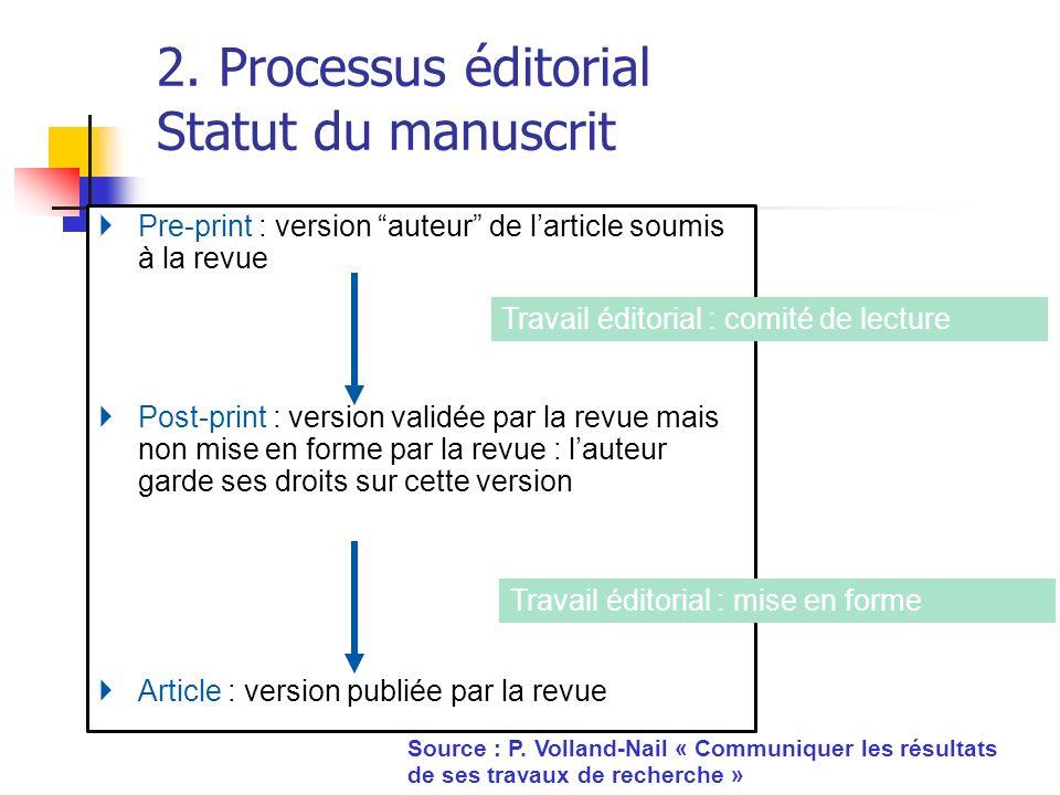 2. Processus éditorial Statut du manuscrit