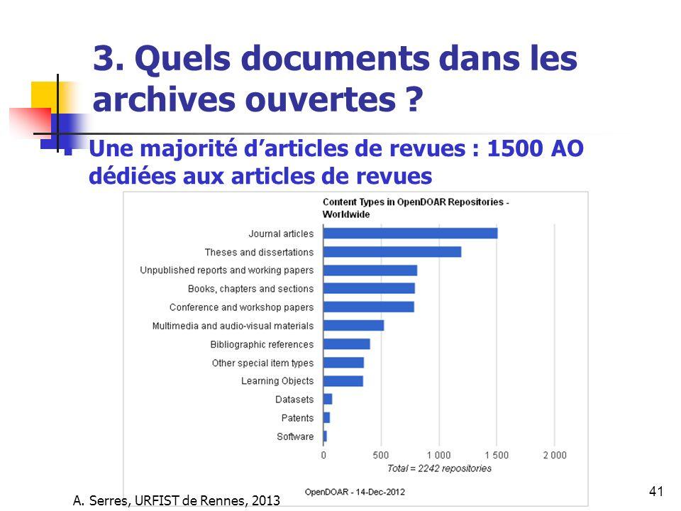 3. Quels documents dans les archives ouvertes