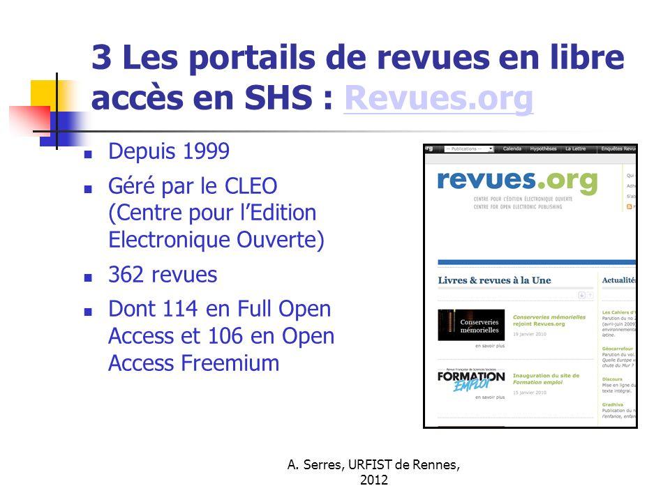 3 Les portails de revues en libre accès en SHS : Revues.org