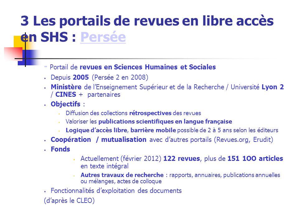 3 Les portails de revues en libre accès en SHS : Persée